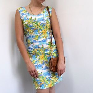 Jams World Palm Print Hawaii Rayon Shift Dress S